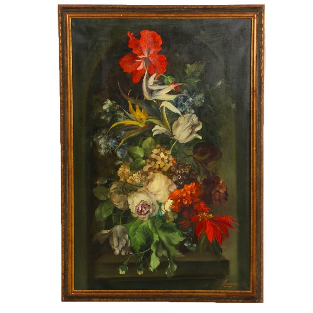 Heinrich Garossa Floral Still Life Oil Painting on Canvas