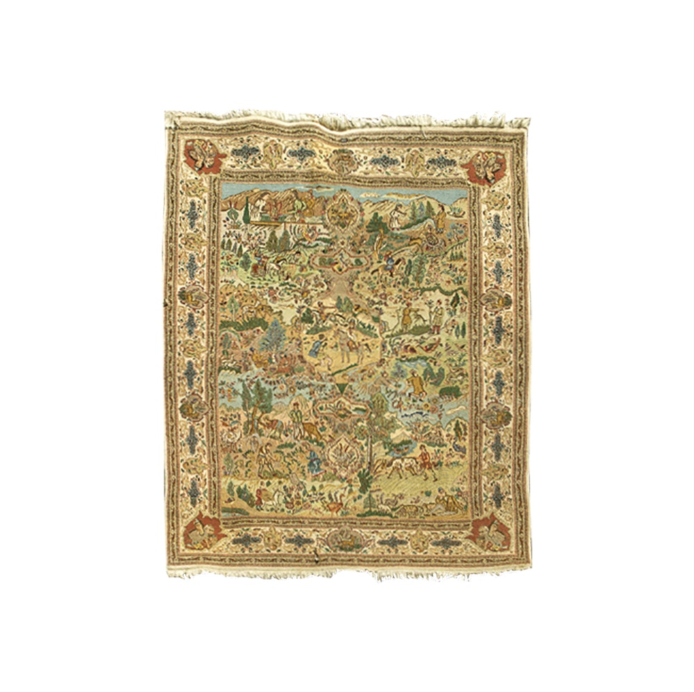 Semi-Antique Hand-Knotted Pictorial Kerman-Style Wool Area Rug