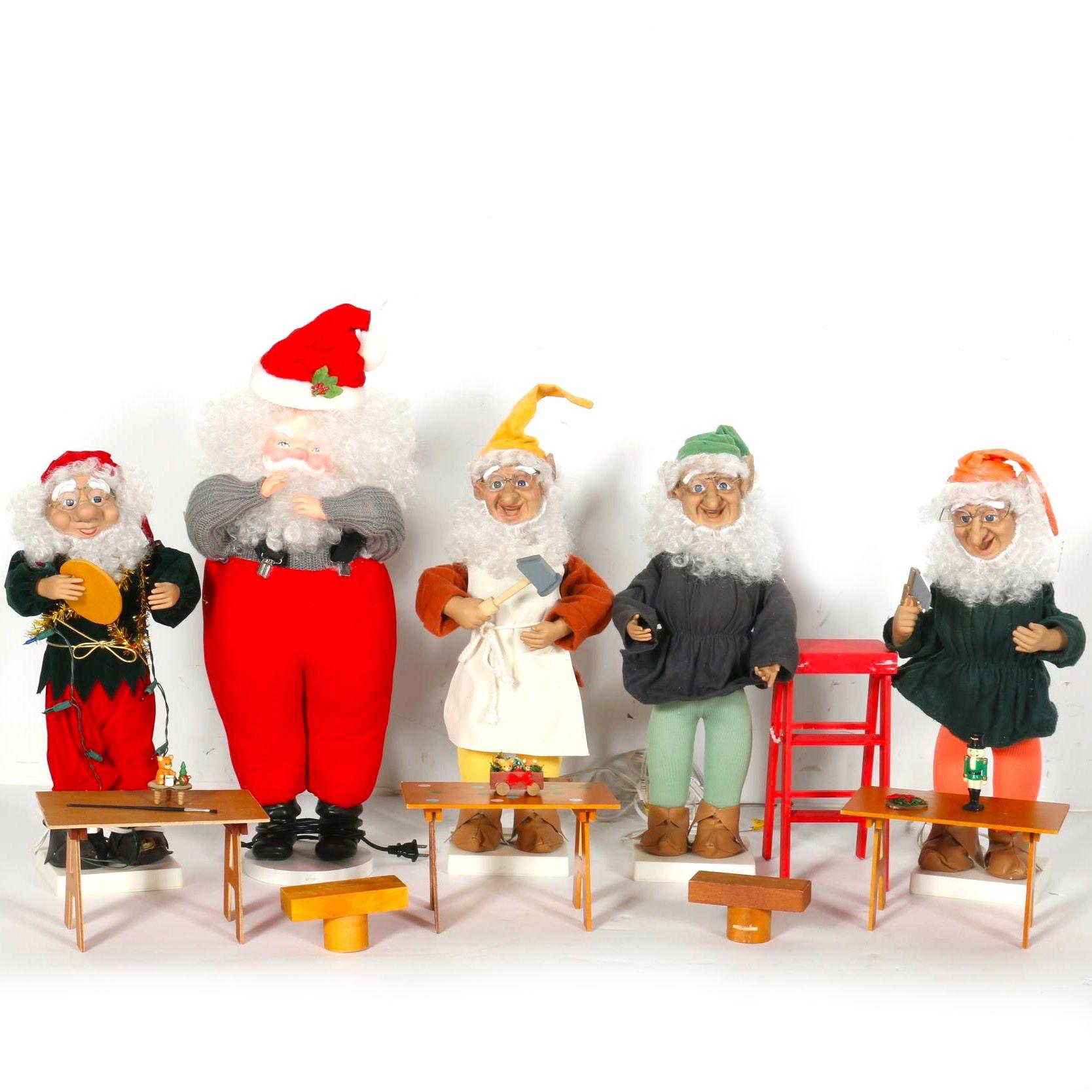 Santa And Workshop Elves Figurines