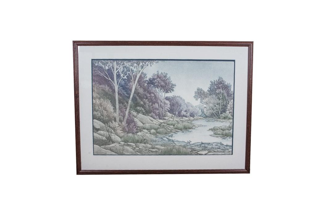 "Signed Aquatint Print ""Tiffany Springs"""