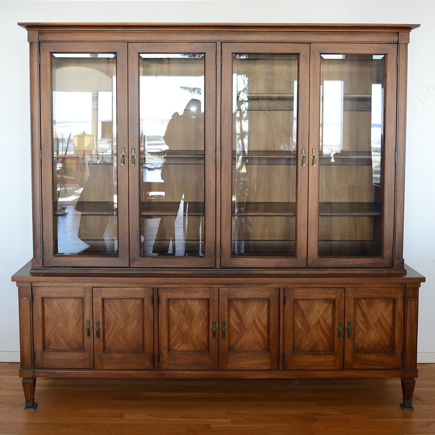 Teak China Cabinet With Glass Doors Ebth