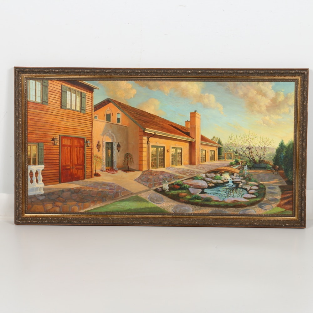Nabipour Oil Painting on Canvas of House Landscape