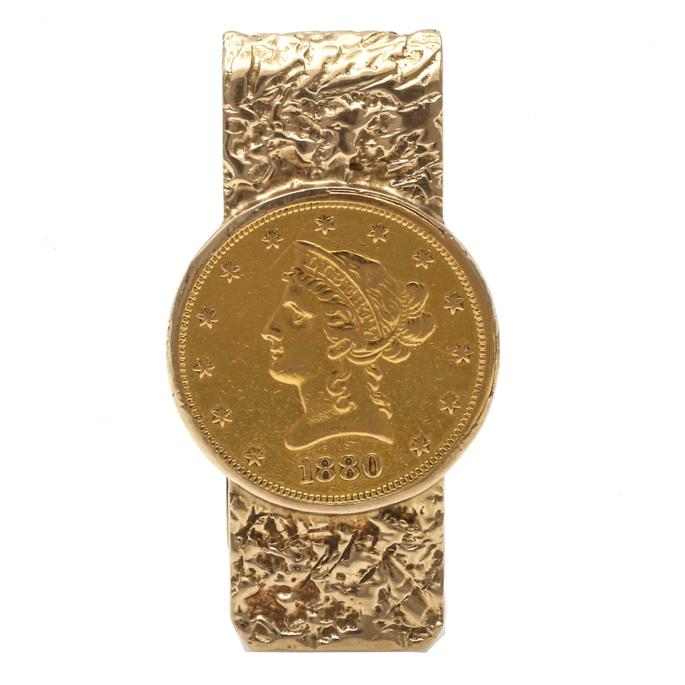 22K Yellow Gold 1880 Liberty Head Half Eagle Coin Money Clip