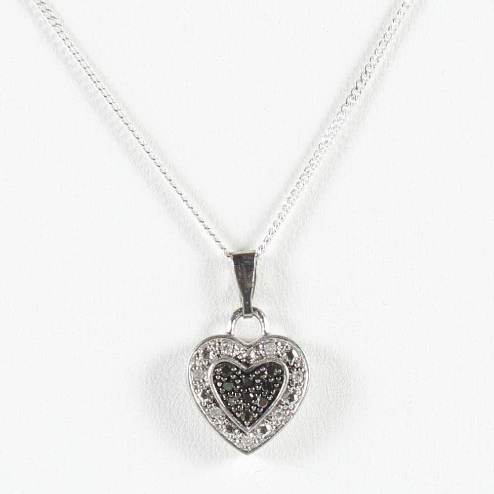 Black and White Diamond Heart Pendant Sterling Silver Necklace EBTH