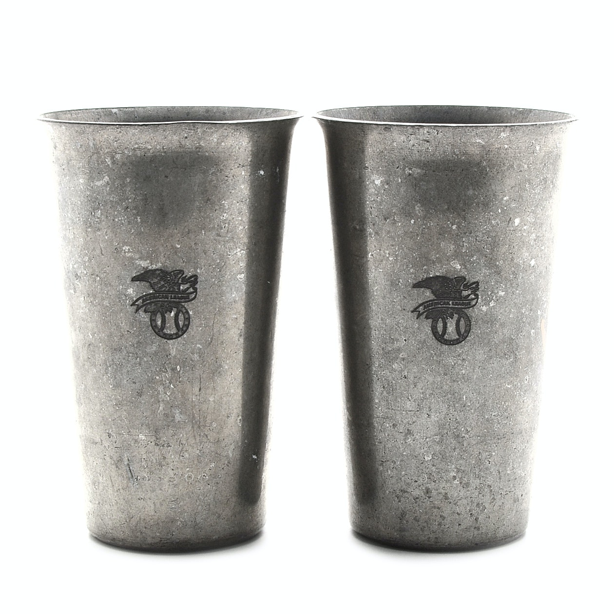 Two Mid-Century  American League Heavy Aluminum Glasses