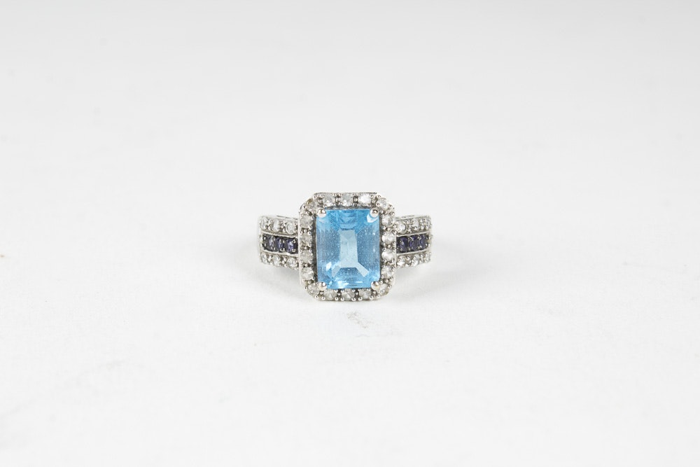 14K White Gold Blue Topaz and Amethyst Ring