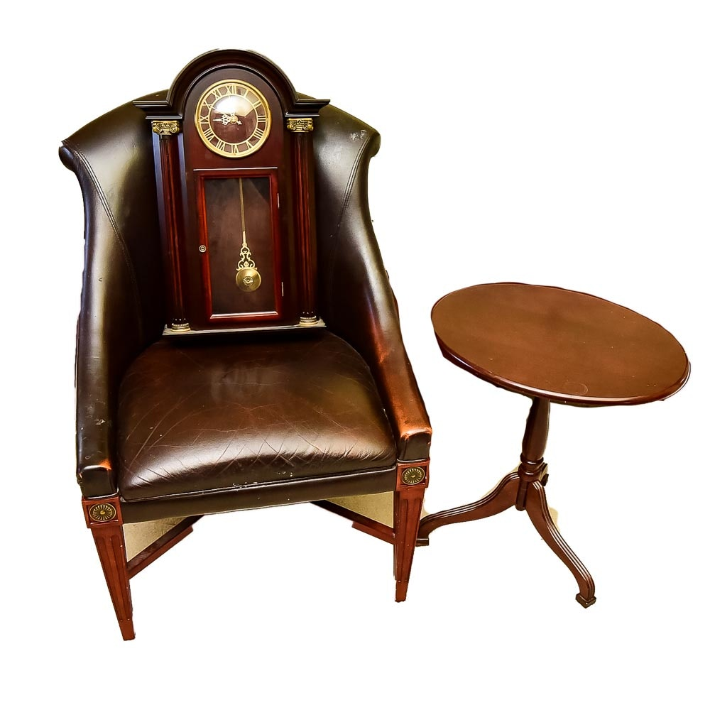 Bombay Company Chair,  Accent Table, and Clock