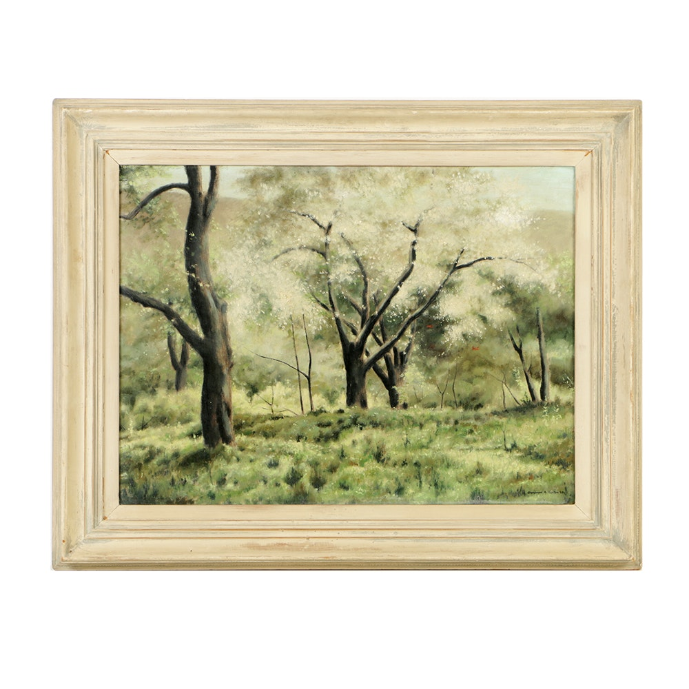 "Clarence Holbrook Carter Oil Painting on Canvas ""Trees at Bloom"""