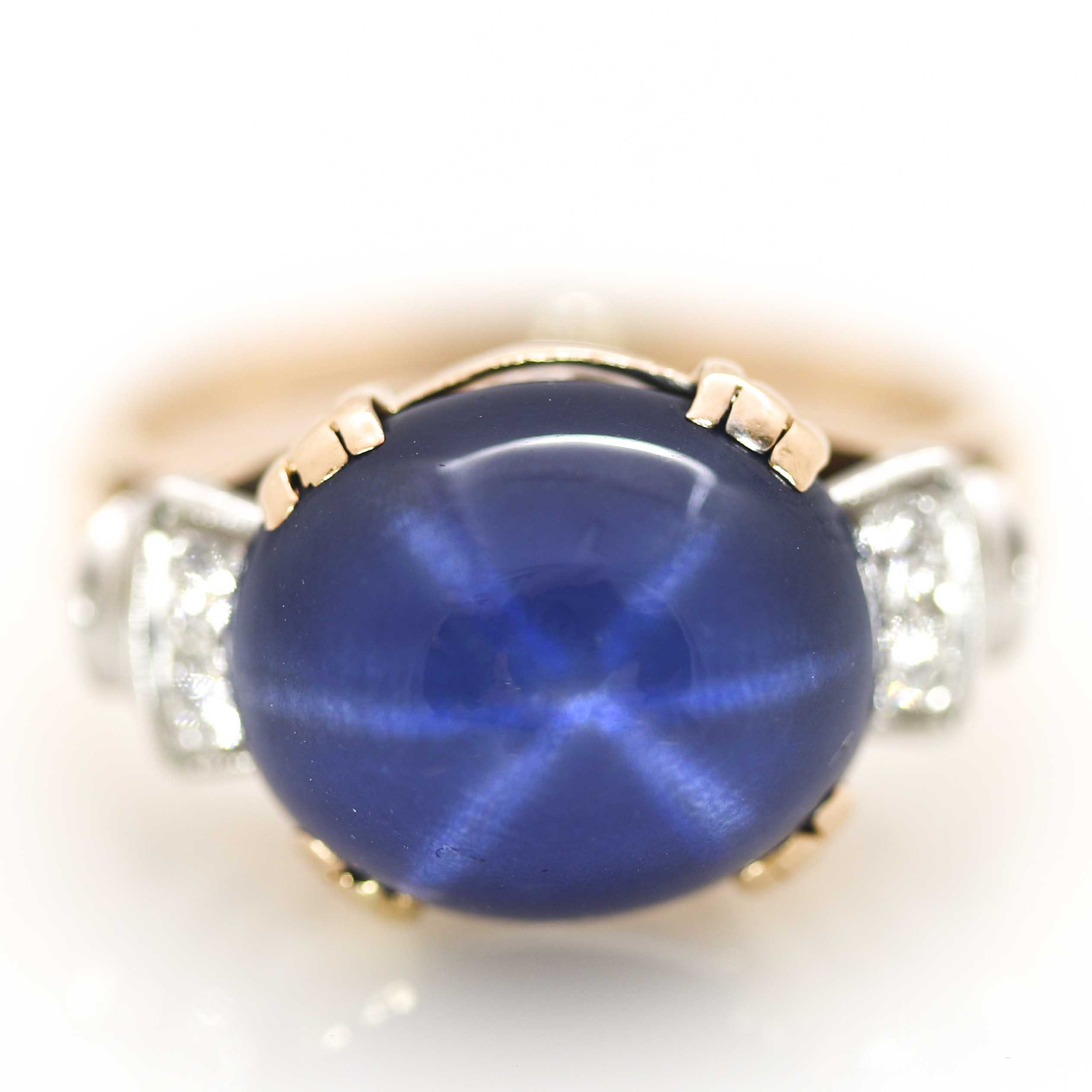14K Yellow Gold and Platinum Blue Star Sapphire and Diamond Ring