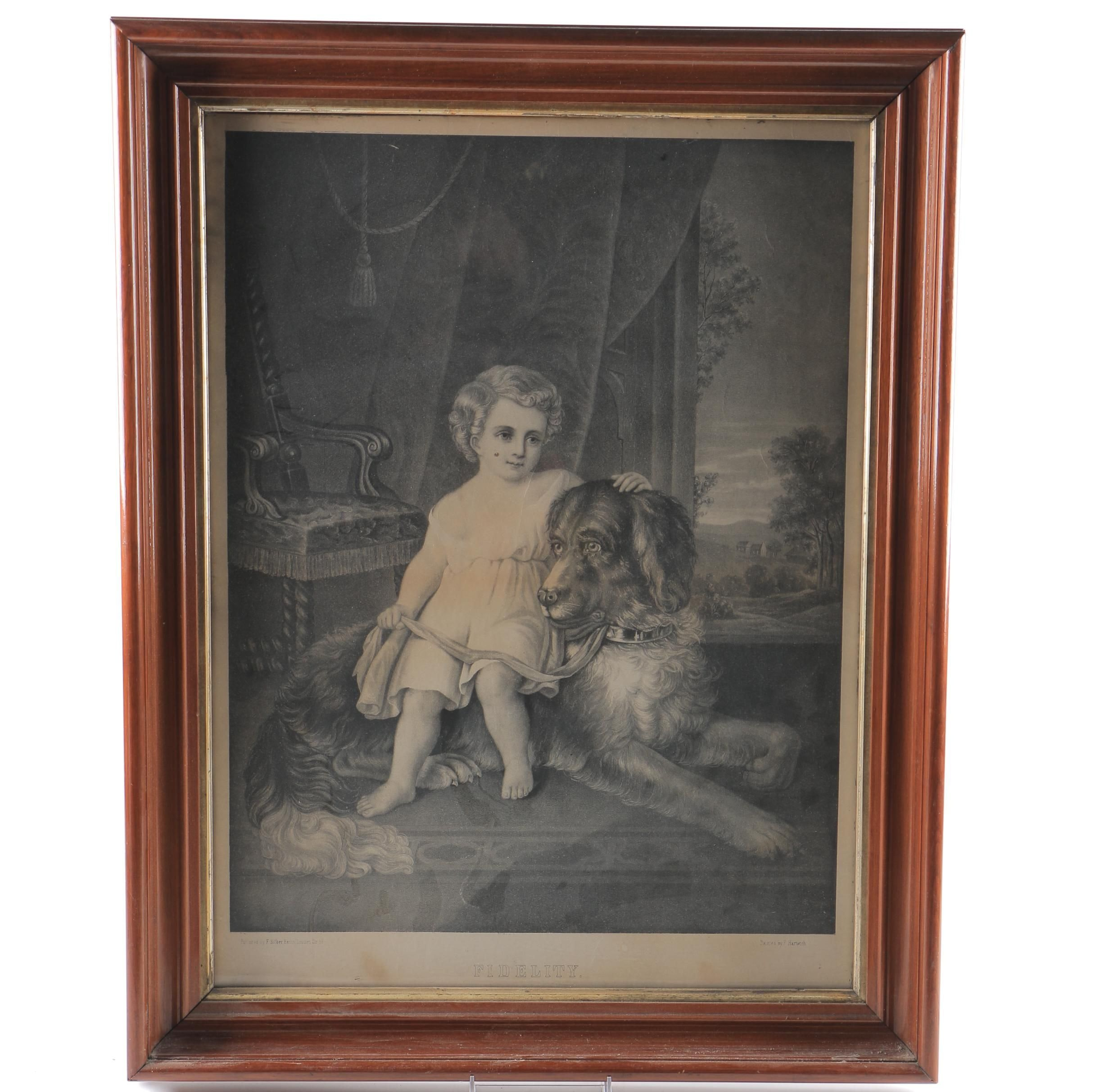 """Antique Lithograph After F. Hartwich """"Fidelity"""""""