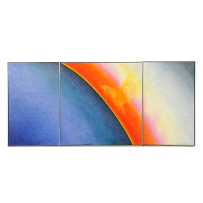 """Beth Hertz Monumental Triptych Oil Painting """"Eclipse"""""""