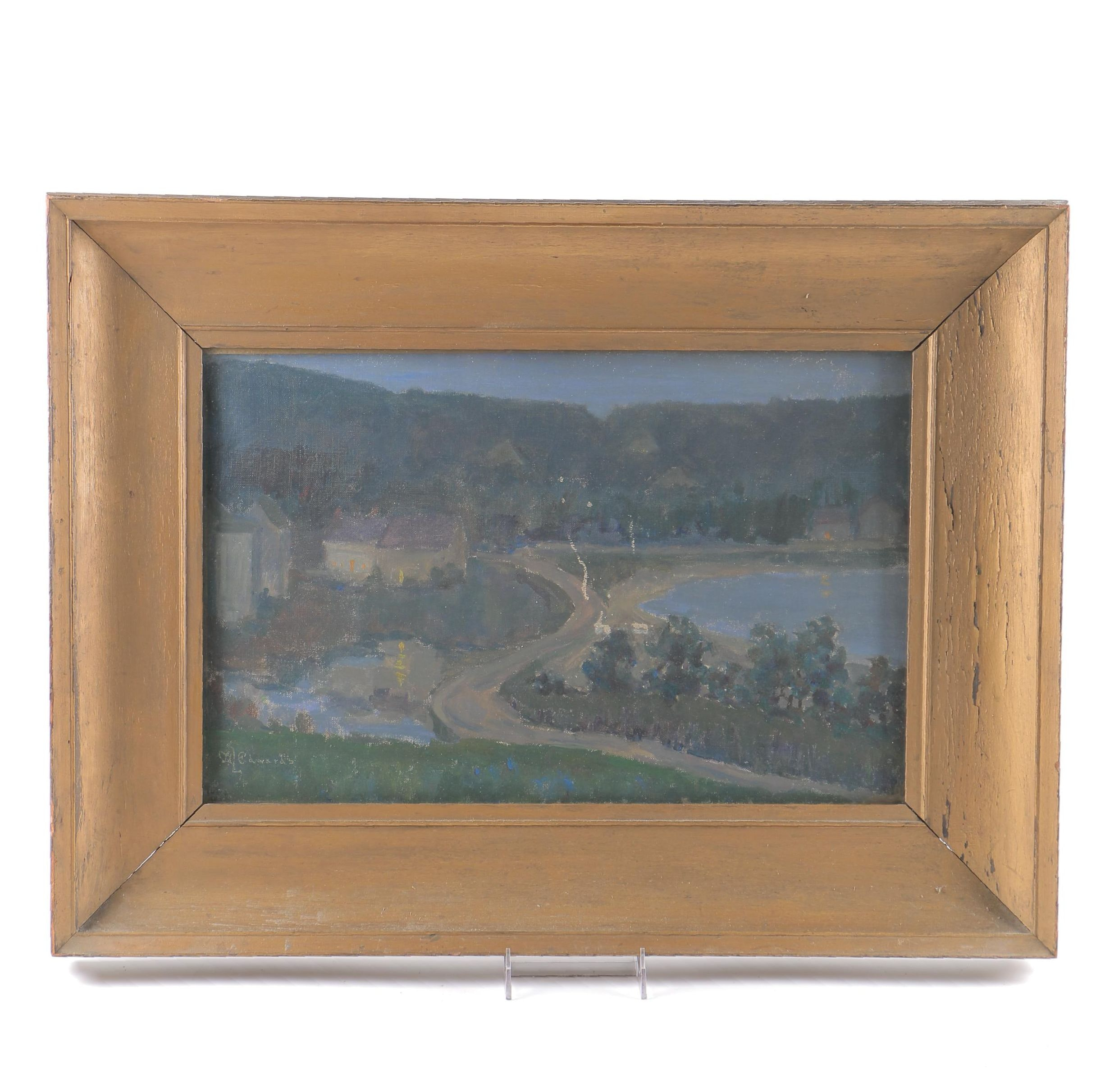 Mary L. Edwards Oil Painting on Canvas of Landscape Scene