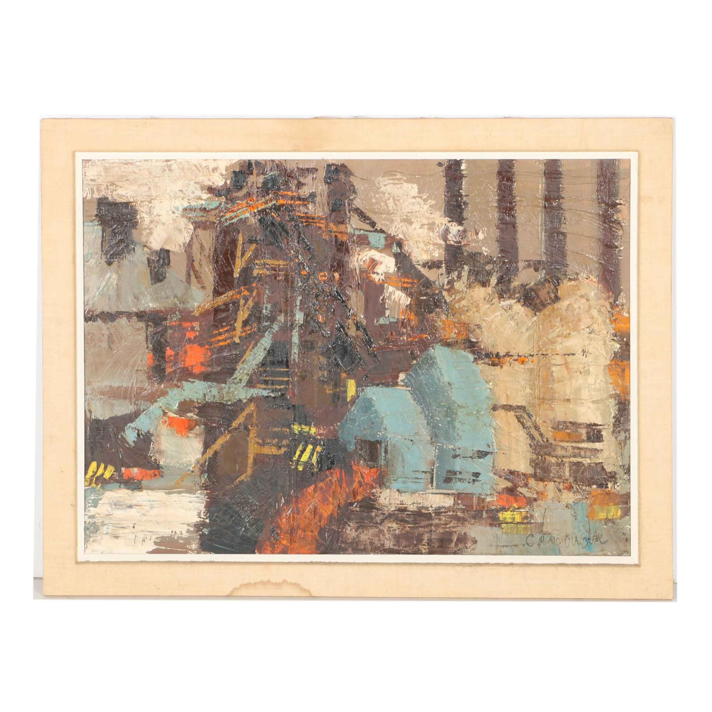 """C. Lacoudre Abstract Painting """"Furnace"""""""