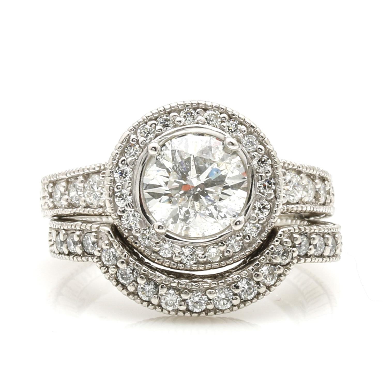 Platinum 2.25 CTW Diamond Engagement and Wedding Ring Set