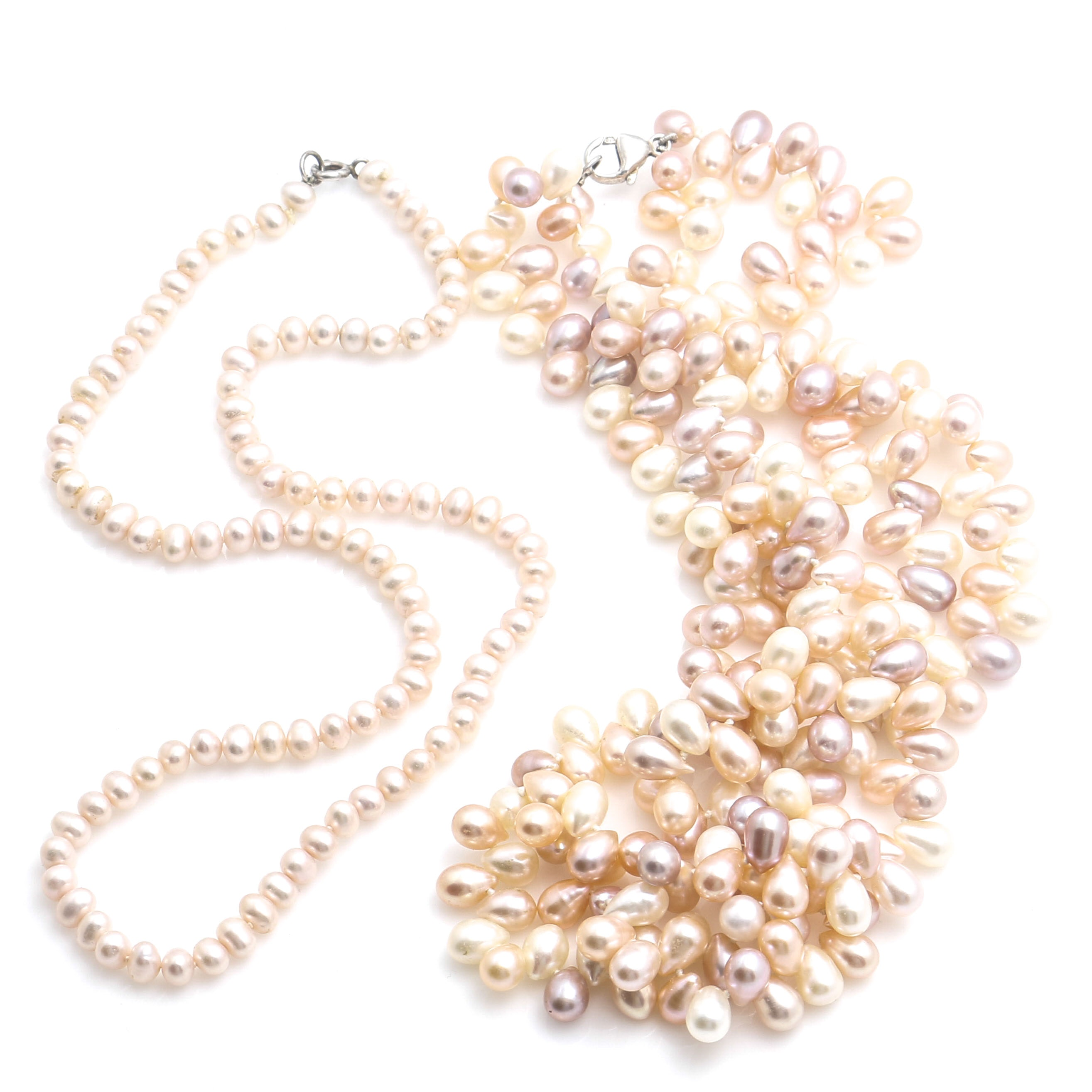 Sterling Silver Pink Cultured Pearl Necklaces