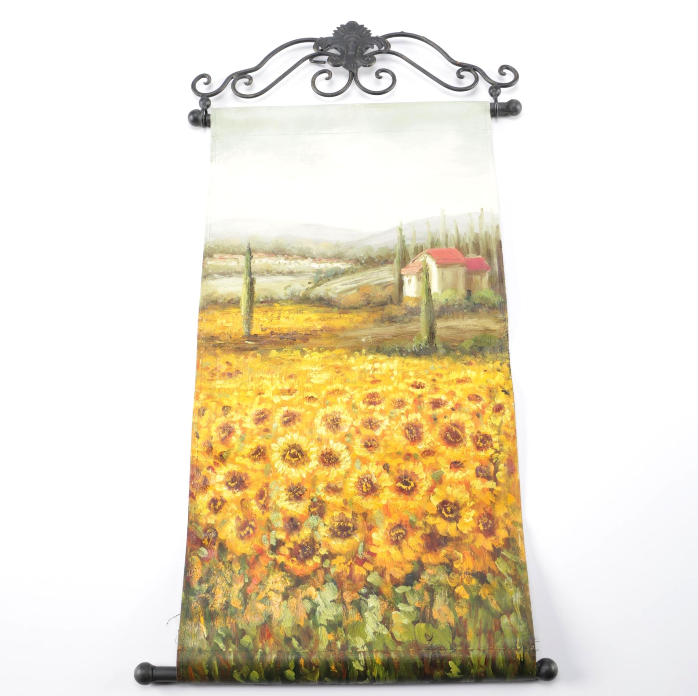Hand Painted Hanging Tapestry of Sunflowers