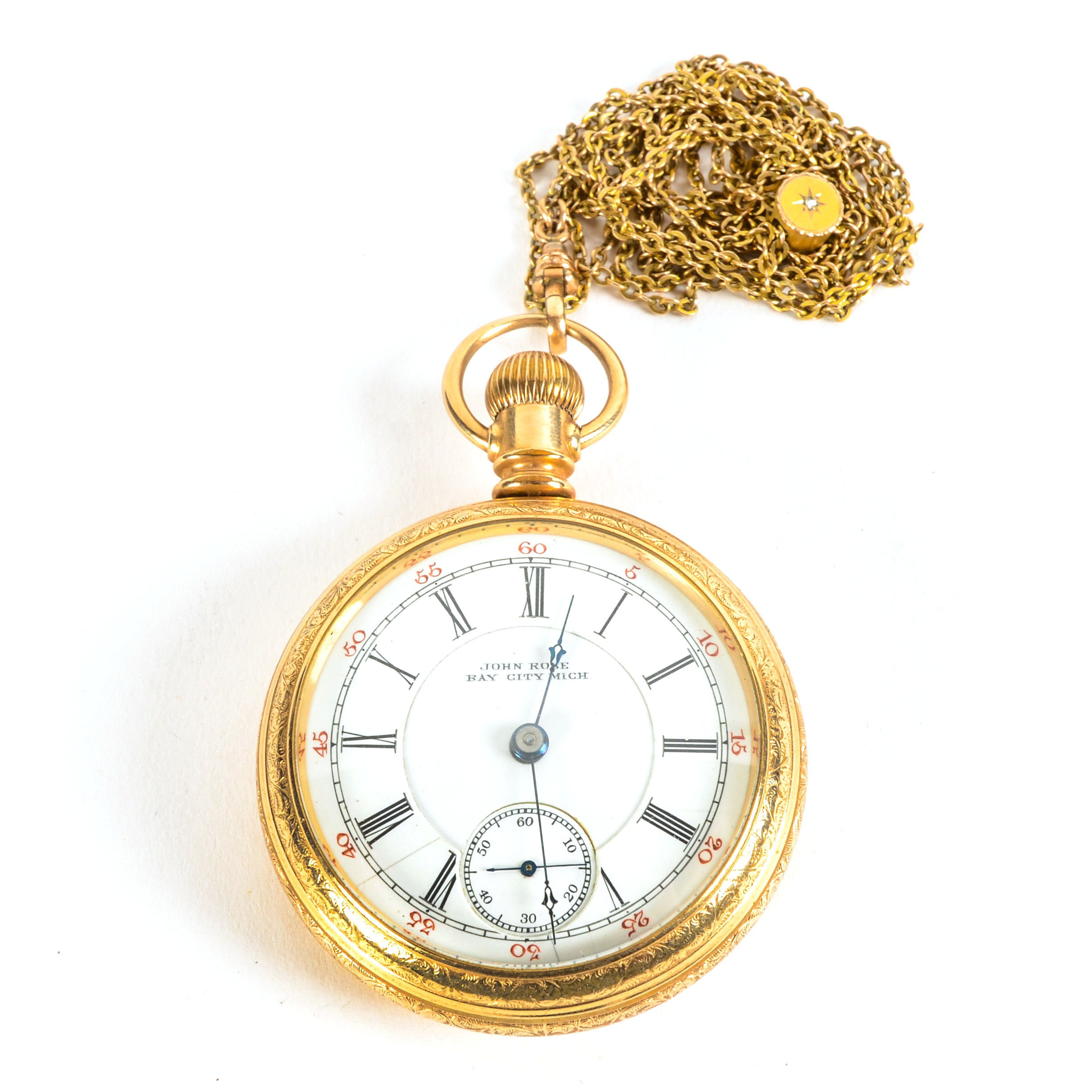 14K Yellow Gold John Rose Pocket Watch and Chain