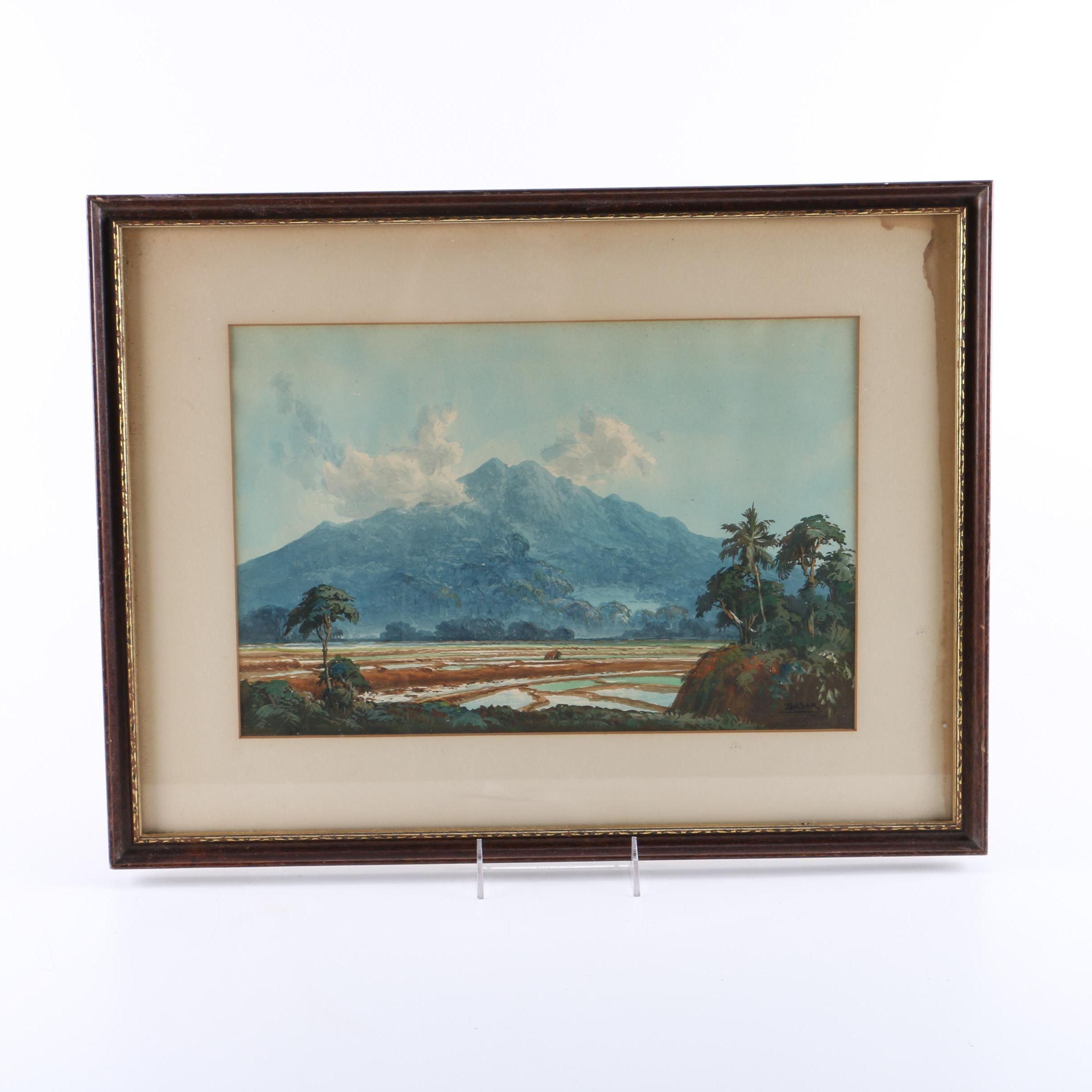 Basar Watercolor Landscape of Indonesian Mountain Scene