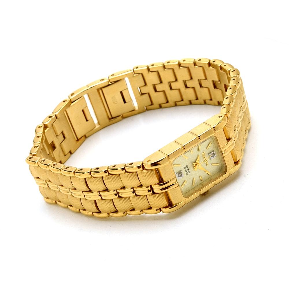 Elgin Diamond Quartz Gold Tone Wristwatch