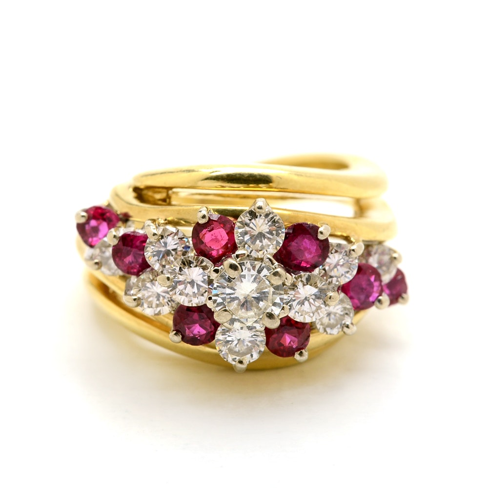 18K Yellow Gold Diamond Natural Ruby Cluster Statement Ring