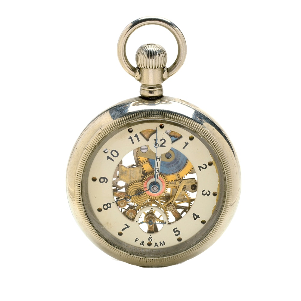 Antique Waltham Free & Accepted Mason Skeleton Pocket Watch