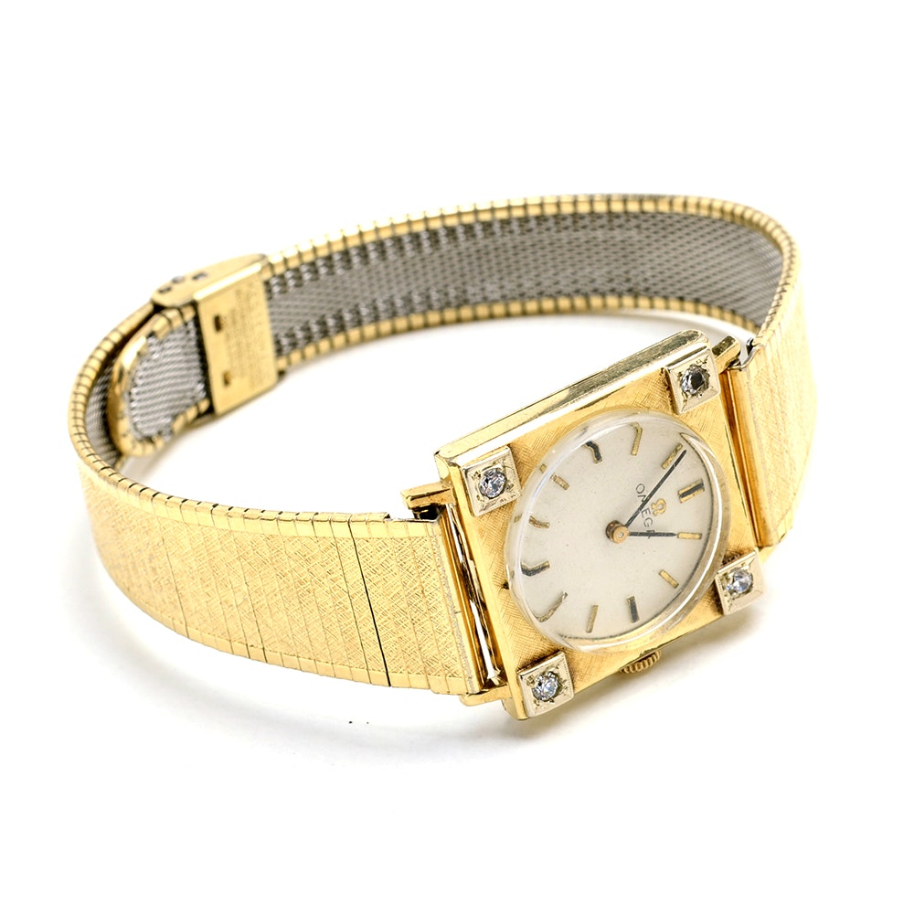 Vintage Omega 14K Gold Filled Diamond Wristwatch