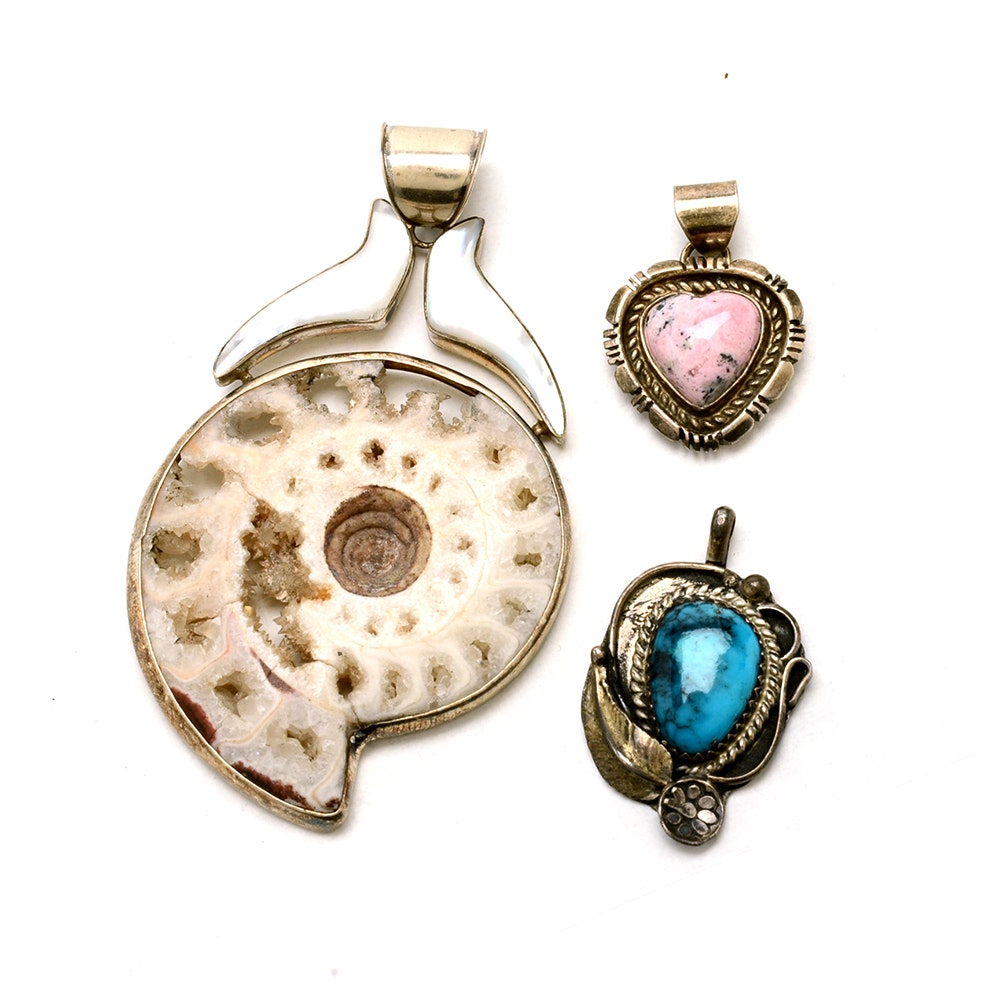 Three Sterling Silver Pendants Including Agatized Ammonite