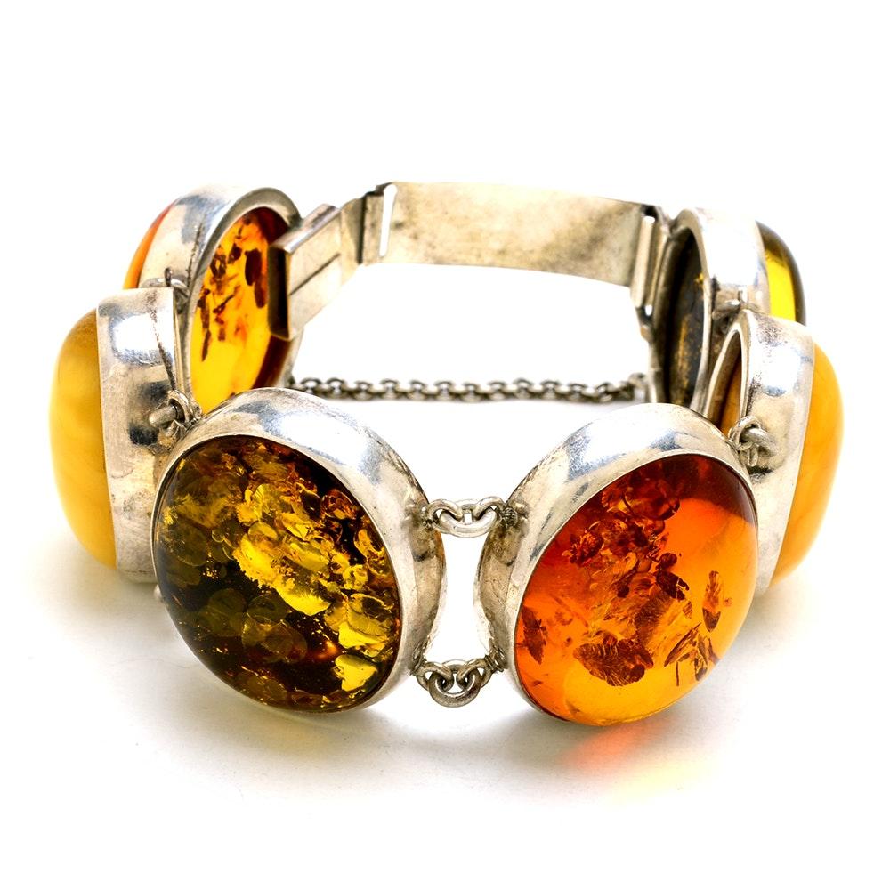 Sterling Silver Natural Amber Linked Bracelet