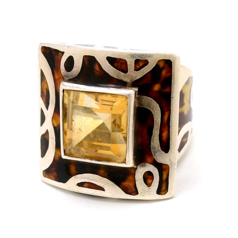 Flli Menegatti Designer Sterling Silver Citrine Statement Ring