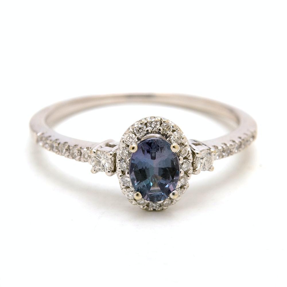 Mark Henry 18K White Gold Alexandrite Diamond Halo Ring