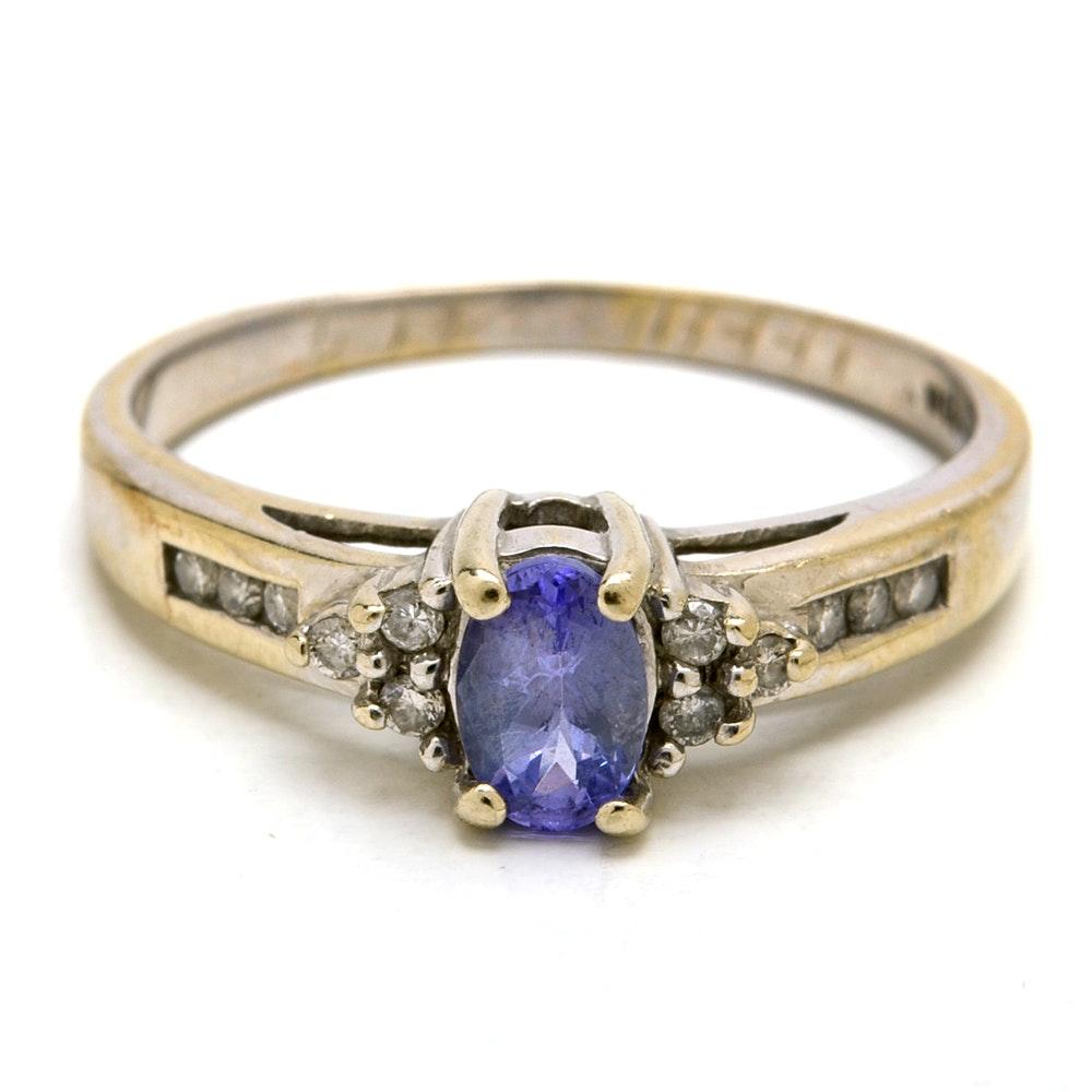 14K White Gold Natural Tanzanite Diamond Fashion Ring