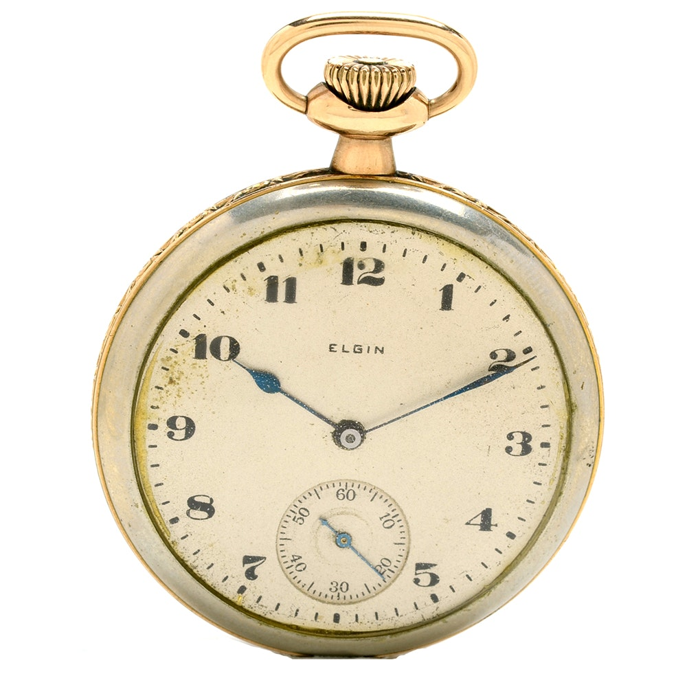 1921 Elgin Gold Plated and Nickel Open Face Pocket Watch