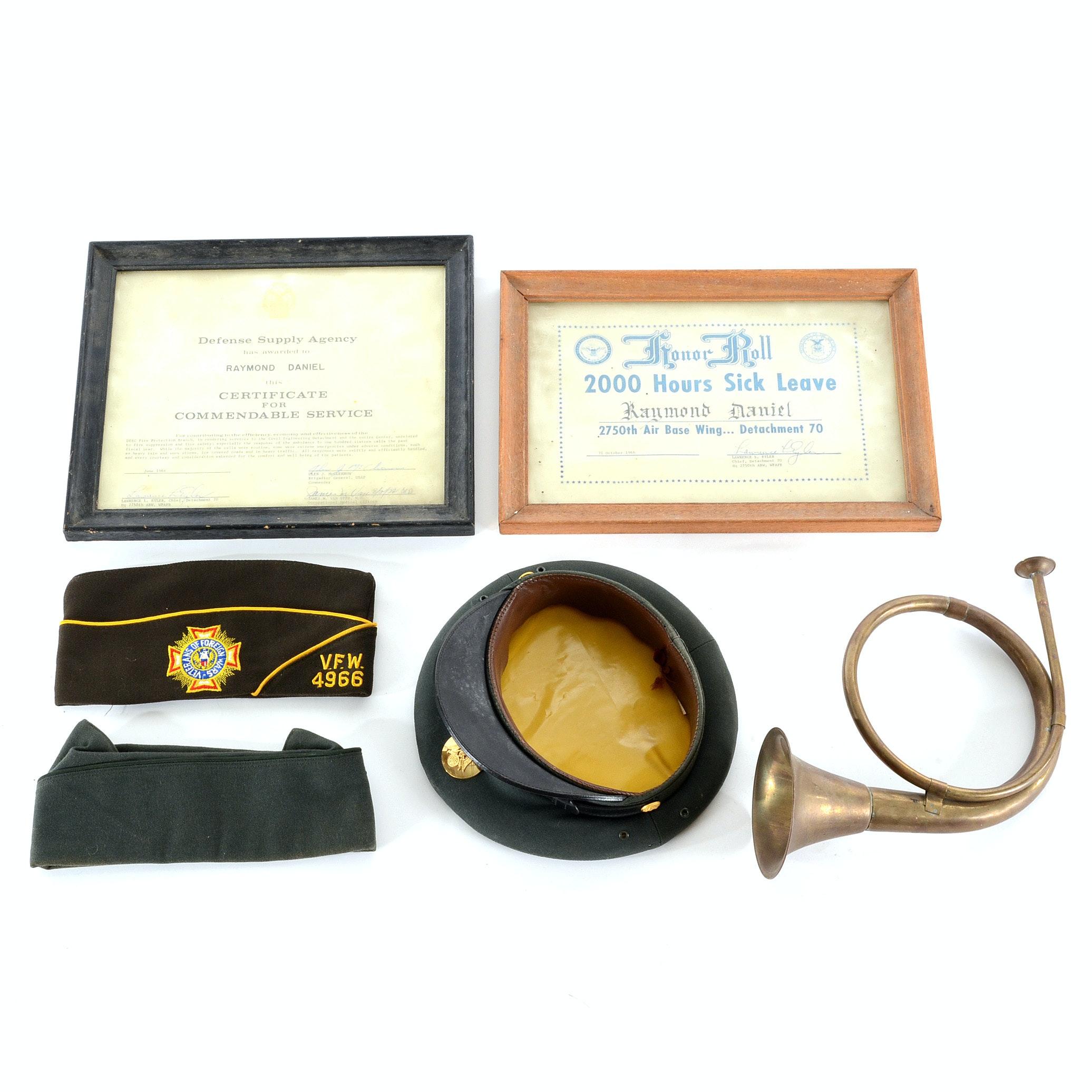 World War II Bugle, Caps, and,  WPAFB Certificates