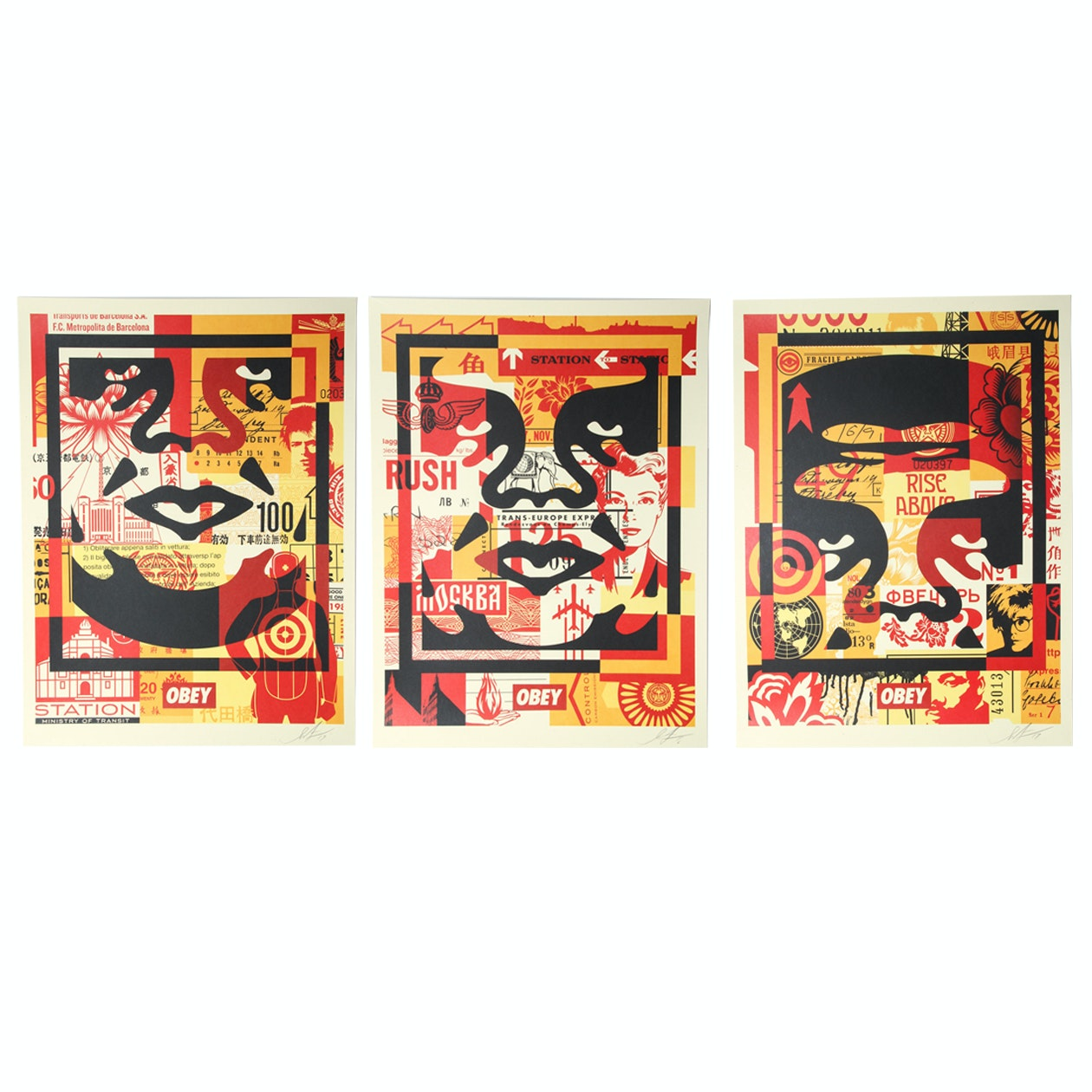 """Shepard Fairey Signed Giclée Set """"Obey 3 Face Collage"""""""