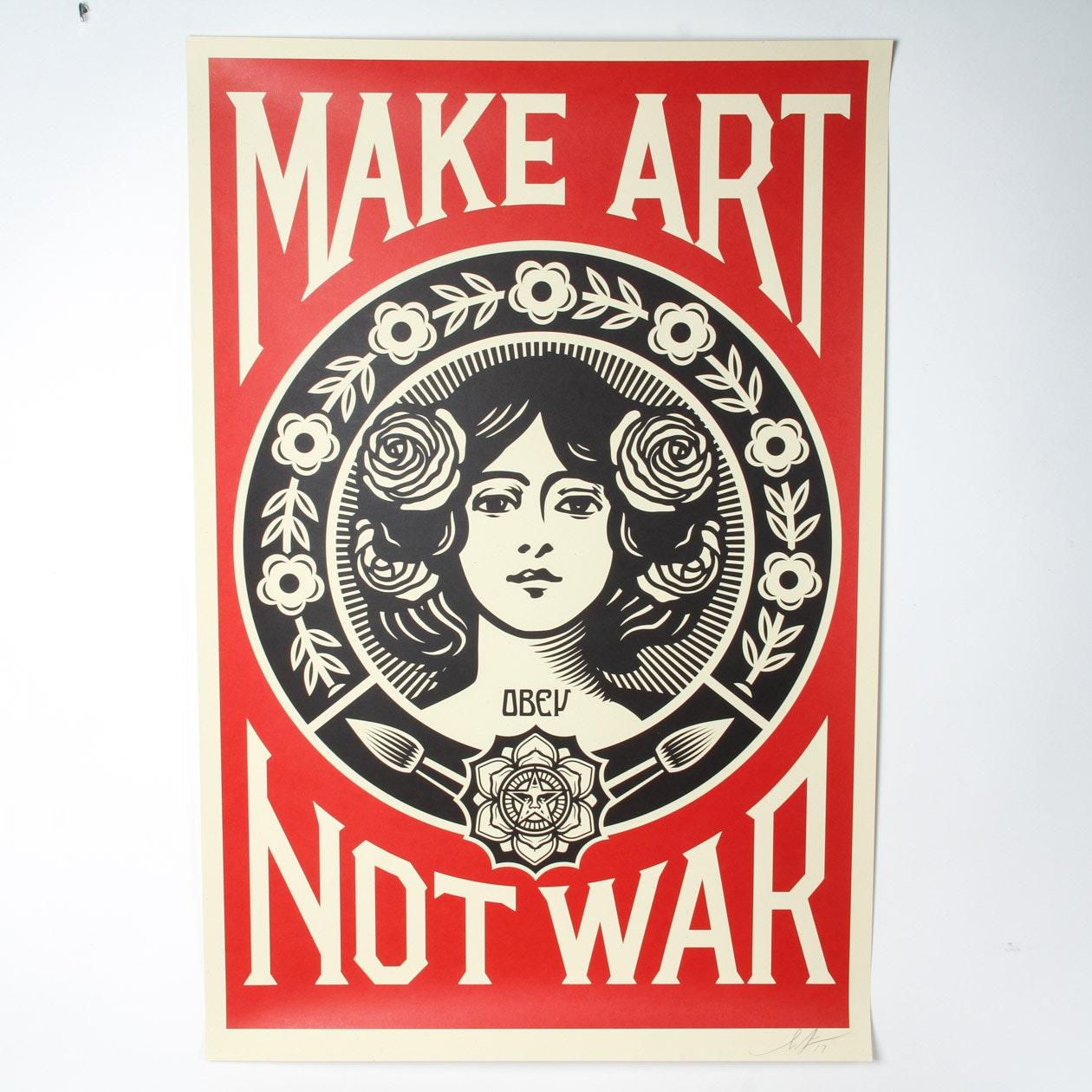 """Shepard Fairey Signed Giclée """"Make Art Not War"""""""