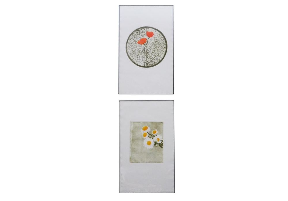 Pair of Signed Floral Lithographs One Marked Proof