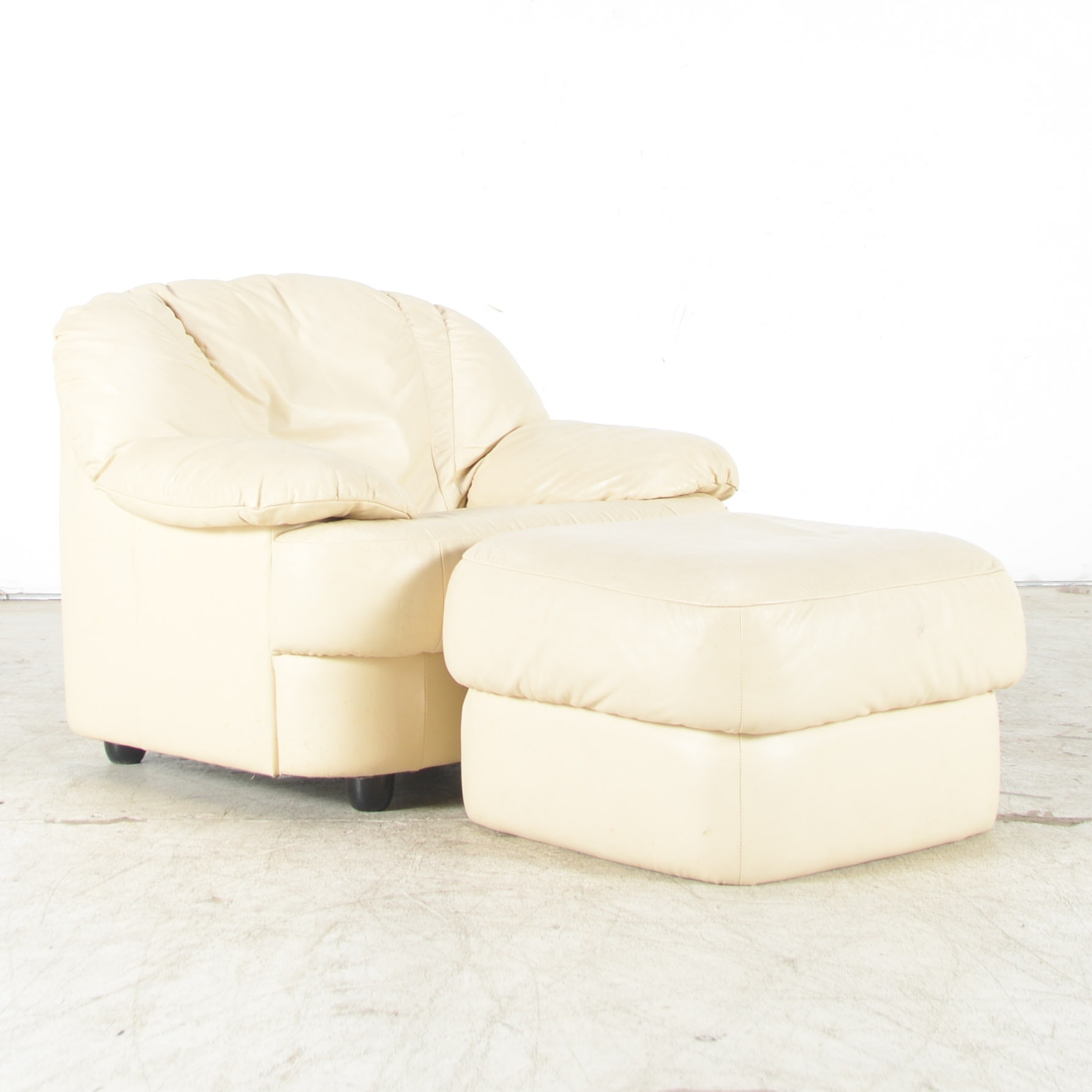 Overstuffed Cream Leather Club Chair with Ottoman