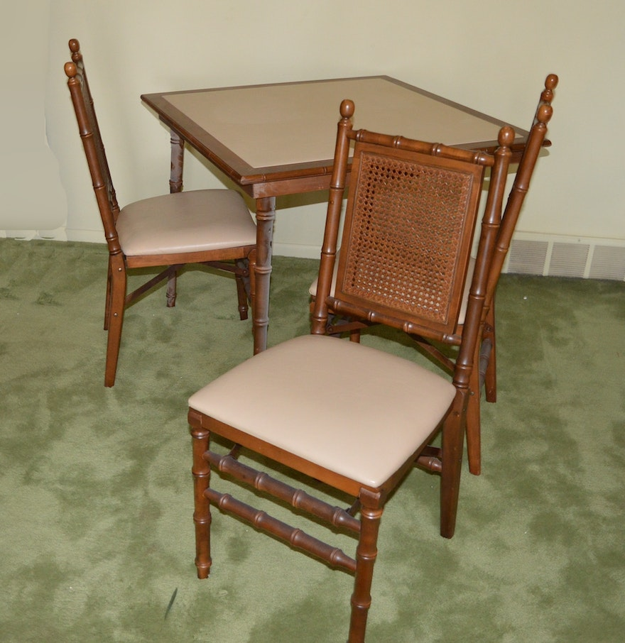 Vinyl Padded Folding Card Table And Three Chairs Ebth