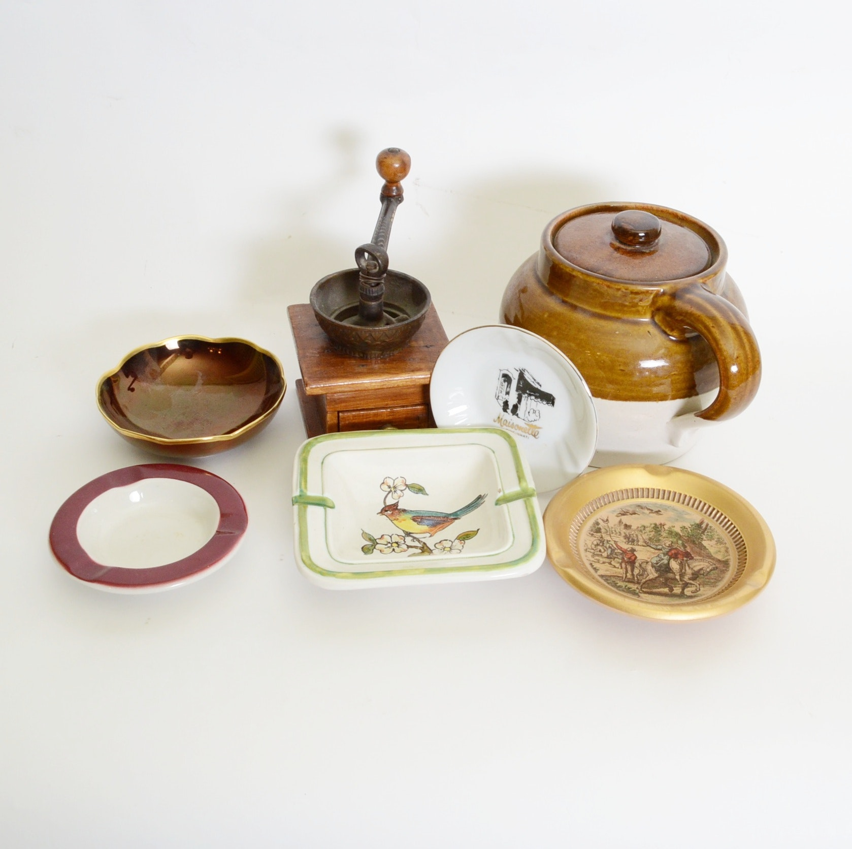 Early Coffee Grinder, Bean Pot and Trinket Dishes