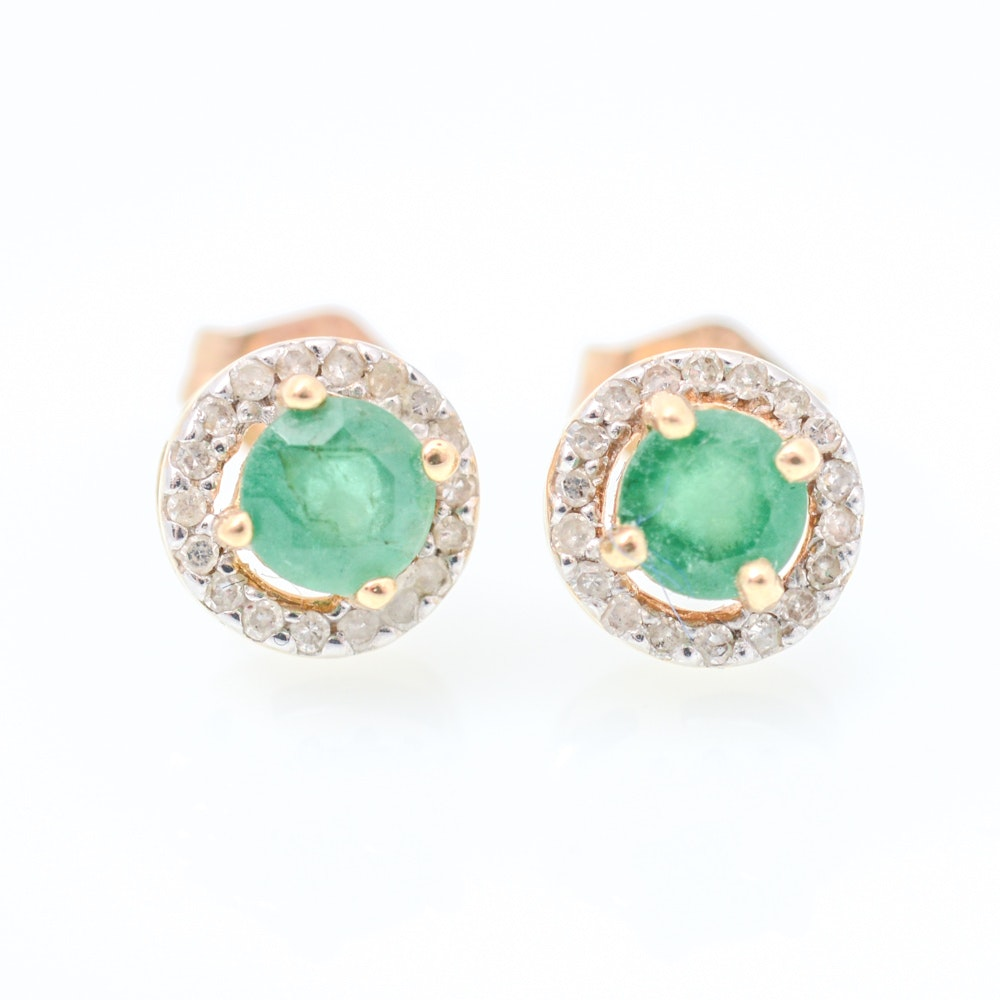 Pair of 14K Yellow Gold, Emerald and Diamond Earrings