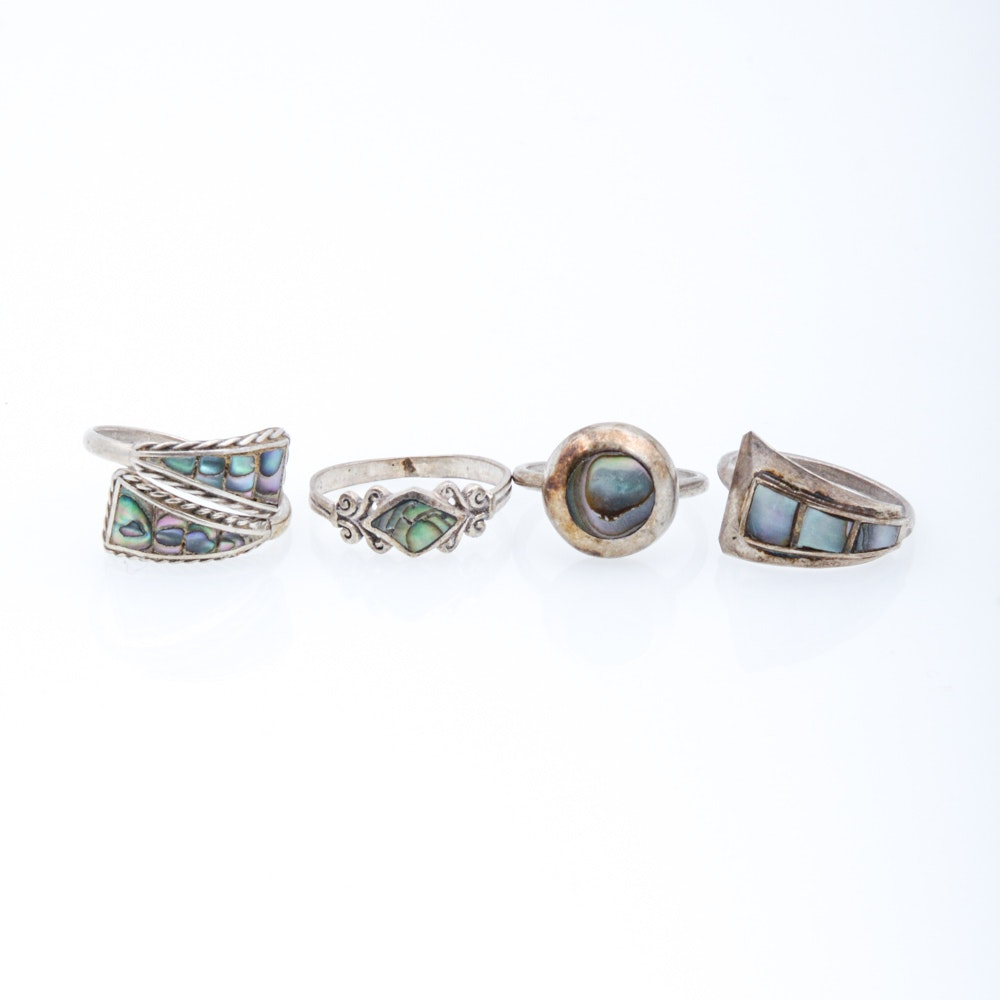 Sterling Silver Abalone Ring Assortment