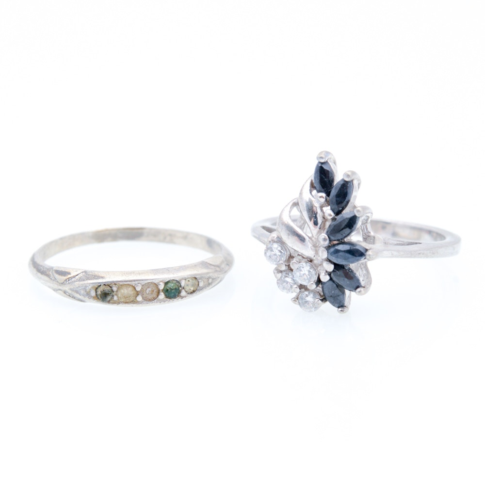 Sterling Silver Sapphire and Imitation Stone Rings