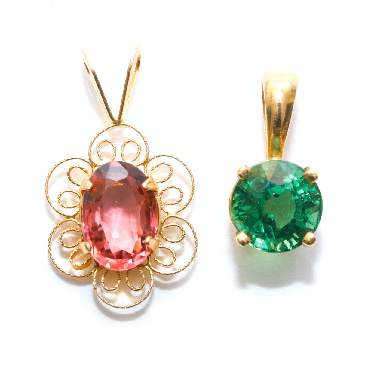 Pair of 14K Yellow Gold Pink and Green Tourmaline Pendants