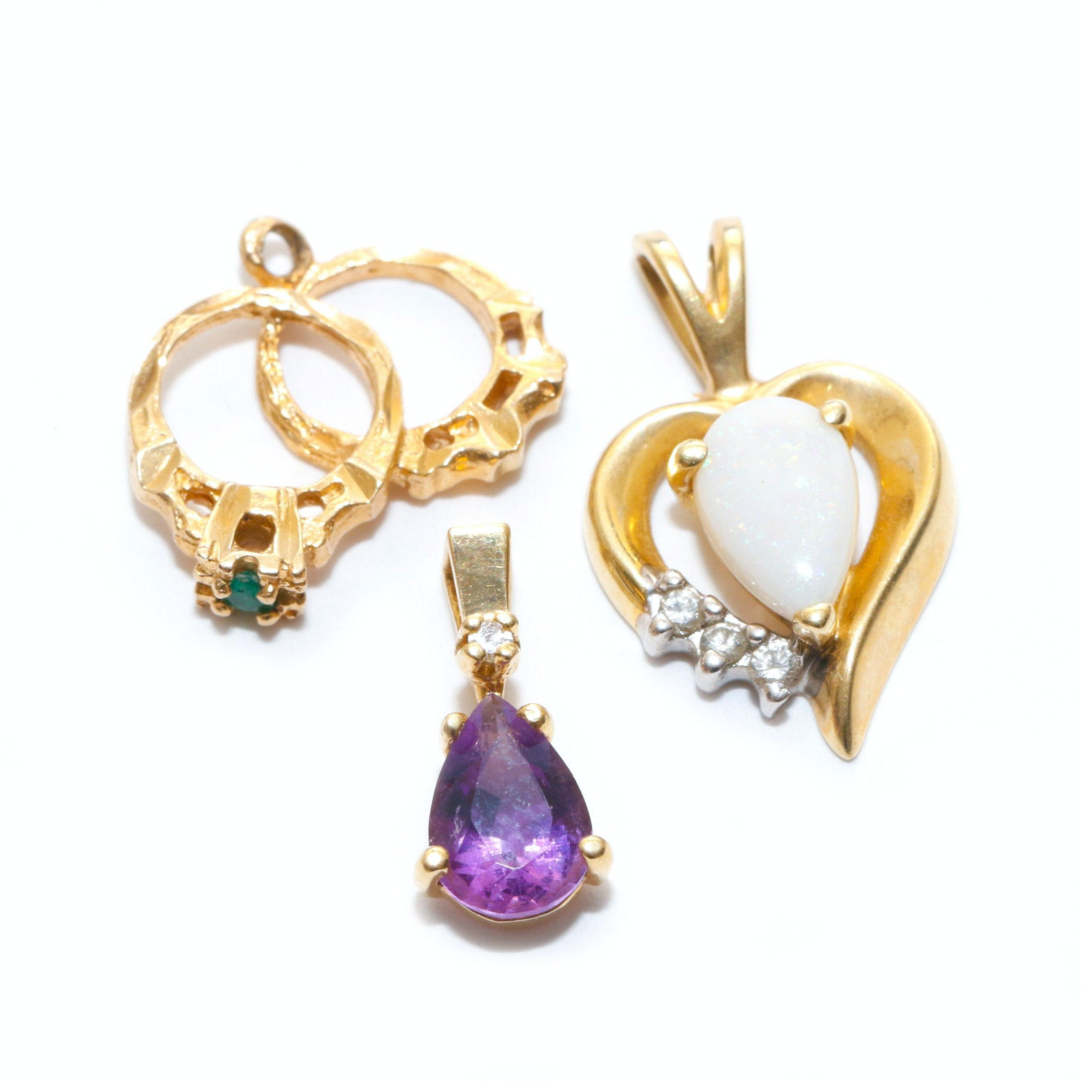 Three 14K Yellow Gold Gemstone Pendants