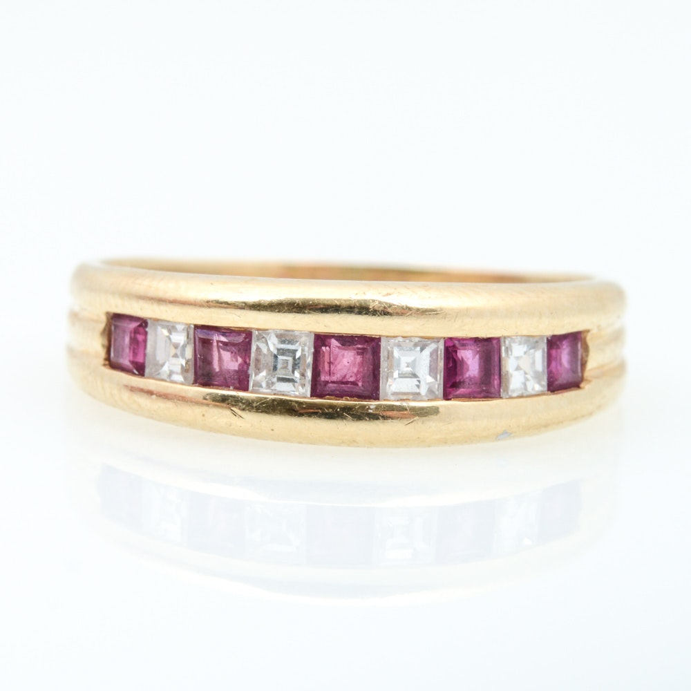 14K Yellow Gold 0.50 CTW Ruby and 0.32 CTW Diamond Ring