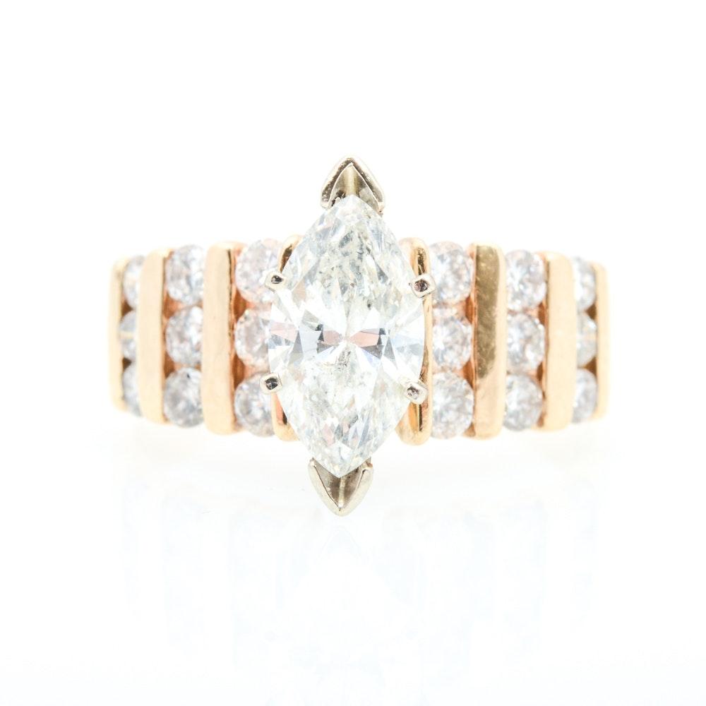 14K Yellow Gold and 2.05 CTW Diamond Ring