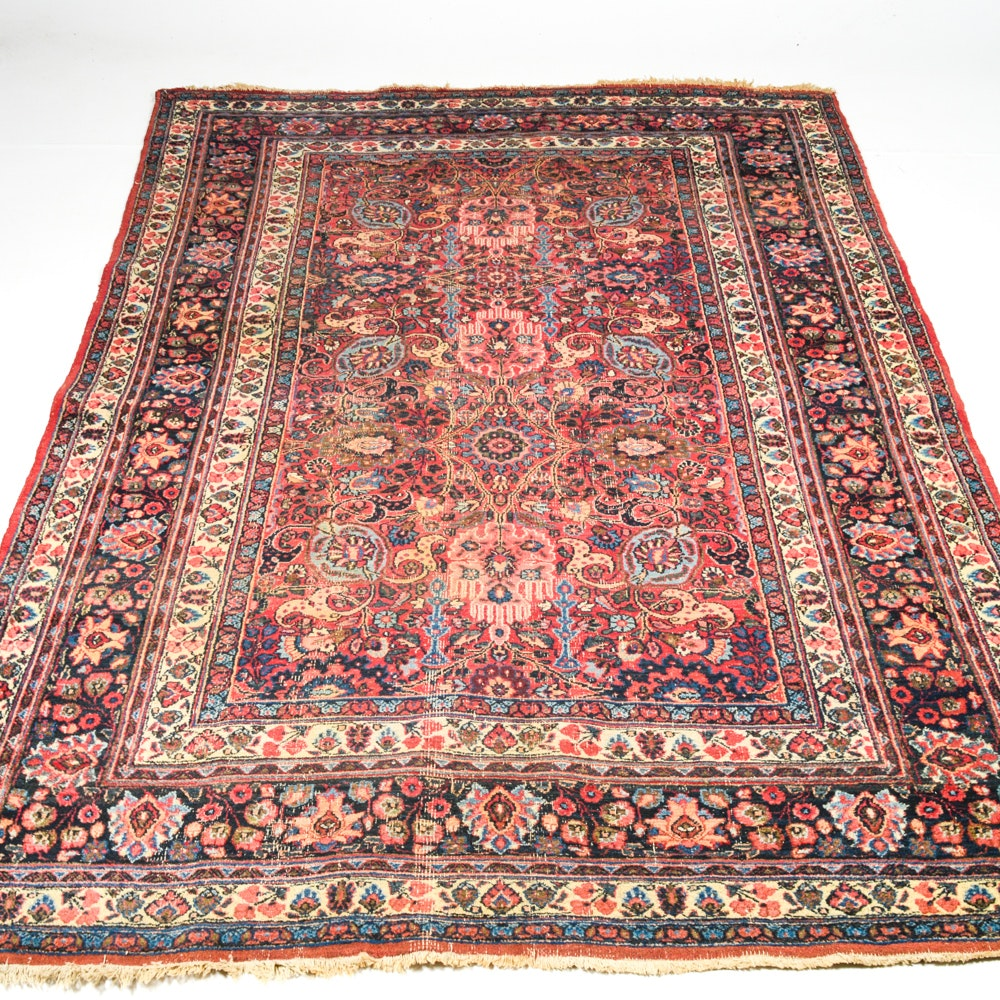 Antique Hand Knotted Persian Khorasan Area Rug