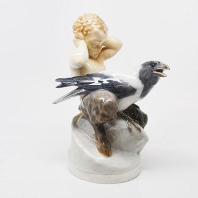 "Royal Copenhagen ""Fawn With Crow"" Porcelain Figurine"
