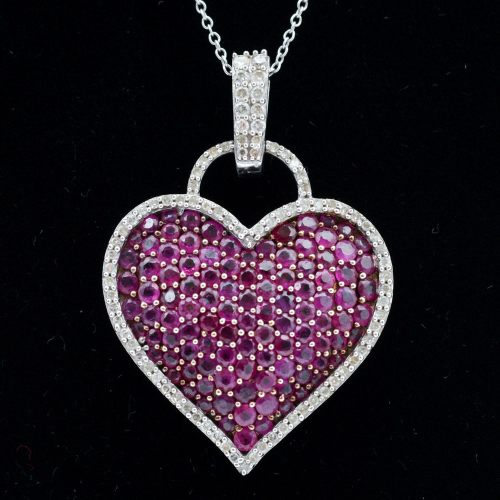 14K White Gold Necklace with Ruby and 0.44 CTW Diamond Pavé Pendant
