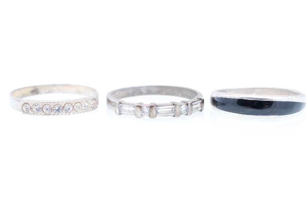 Sterling Silver Rings Featuring Onyx and Cubic Zirconia